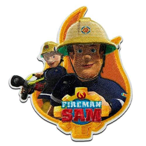 Feuerwehrmann Sam © Sam & Penny Feuer - Aufnäher, Bügelbild, Aufbügler, Applikationen, Patches, Flicken, zum aufbügeln, Größe: 8 x 7,2 cm