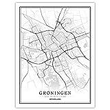 SKLHSIL Leinwand Bild,Niederlande Groningen Stadtplan