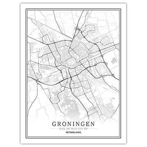 Groningen Canvas afdrukken, zwart-wit wereldplanner, posters, Nordic woonkamer, muur, kunst, foto's, kunstdrukken, posters, schilderijen op canvas voor thuis, interieur, woonkamer, slaapkamer, hal Bibli 60×90cm