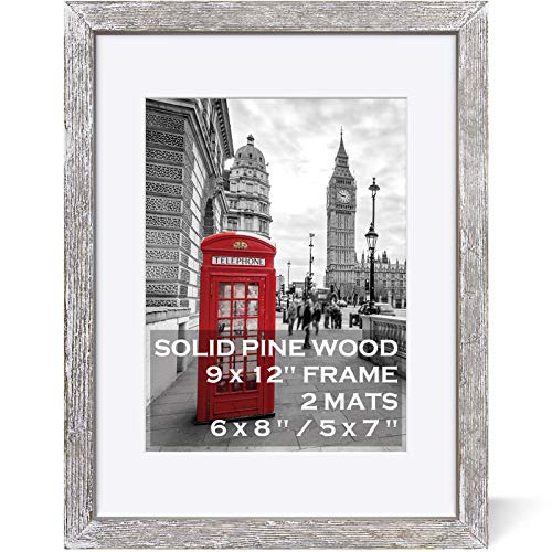 9x12 White Picture Frames Solid Wood Rustic White Display Pictures 6x8 or 5x7 with Mat or 9x12 without Mat - Farmhouse Distressed Photo Frame for Art with 2 Mats Wall Mounting ,Table Top - Set of 1
