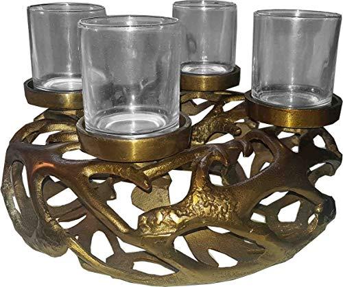 Diga Colmore Venlo B.V. Deko Geweihkranz mit 4 Kerzenhalter goldfarben