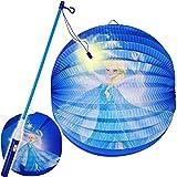 alles-meine.de GmbH Set: Laterne / Lampion + LED Laternenstab - Disney die Eiskönigin - Frozen - aus Papier - RUND - für Kinder Papierlaterne - Lampe - Laternen Lampions - Figure..