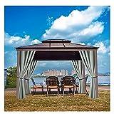 Gaohm wasserdichte Vorhänge für den Außenbereich, Beschattung und Wärmedämmung Pavillon-Vorhänge, mit Edelstahl-Tülle In/Außen-Veranda Balkon Pergola Badezimmer