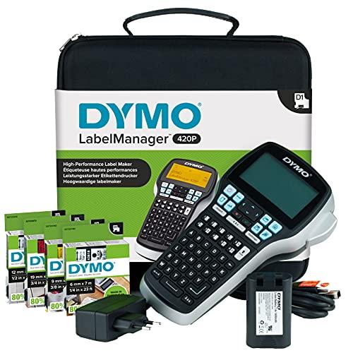 DYMO LabelManager 420P Hochleistungs Beschriftungsgerät im Koffer | Tragbares Etikettiergerät mit ABC Tastatur | mit extra Rollen DYMO D1-Beschriftungsband | mit PC- oder Mac-Schnittstelle