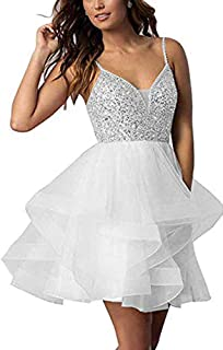 Botong Women's Tulle Spaghetti Strap Homecoming Dresses Beaded A Line Mini Prom Cocktail Dress