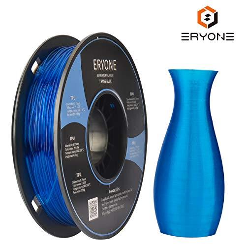 Filament de 1.75mm TPU, filament d'Eryone TPU 1.75mm, filament d'impression de TPU 3D pour l'imprimante 3D, bobine de 0.5kg 1, bleu transparent