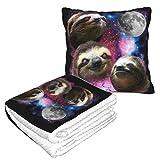Lsjuee 3 Sloth Galaxy Moon 2 en 1 Manta de Tiro, Almohada de Viaje Ligera y Duradera