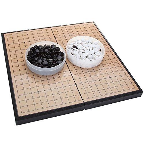 FunnyGoo Juego de Tablero de ajedrez M go con Piedras plásticas M y Tablero de ajedrez IR Plegable, 11.2 x 11.2 Pulgadas