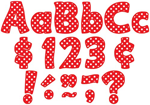 Teacher Created Resources Red Polka Dots Funtastic Font 4-Inch Letters Combo Pack (5344)