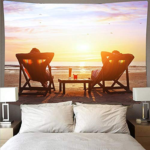 Hermosas olas de playa atardecer tapiz arte de la pared tapiz hippie colgante de pared psicodélico toalla de playa tela de fondo A2 150x200cm