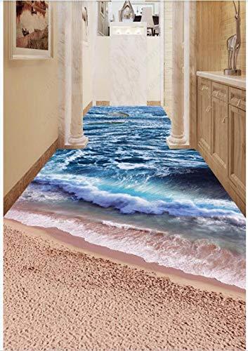 Gepersonaliseerde foto 3D-vloerbedekking PVC zelfklevende bodem strand zee dolfijn gang home decor woonkamer wallpaper 200cm(L) x140cm(W)