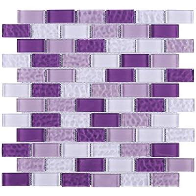 Pool Wave Crystal Subway Glass Mosaic Tile for Bathroom and Kitchen Walls Kitchen Backsplashes (10 Sheets / case) (Mix Violet)