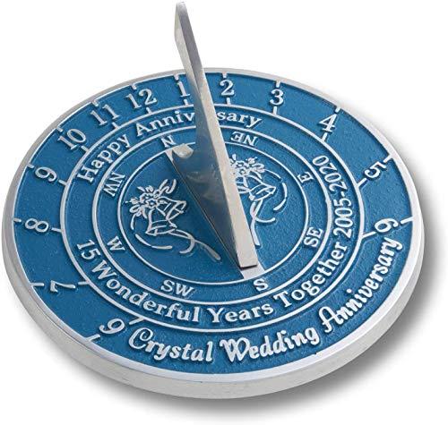 Antique Nauticals Cadran solaire en cristal pour 15ème anniversaire de mariage
