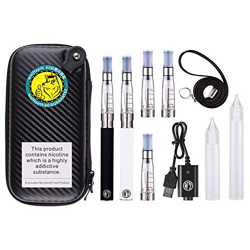 WOLFTEETH Aggiornato 2 Pack CE4 E Sigaretta Starter Kit 1100mAh | 5 CE4 Atomizzatore | |Sigarette Elettroniche Vaporizzatore Case Set | Senza Liquido Nicotina Tabacco 122401