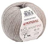 Biowolle Lane Mondial Bio Lana Fine Fb. 343 Kiesel, 50g Reine Schurwolle zum Stricken, Babywolle Bio