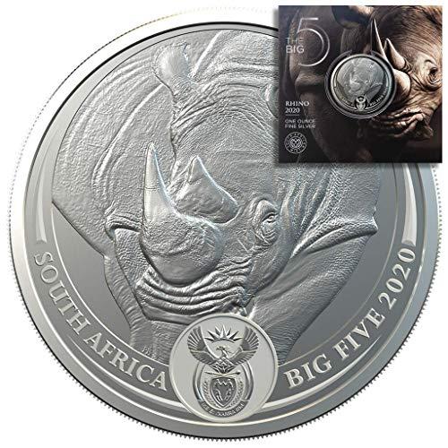 The Big Five - 3. Ausgabe Rhino Nashorn - 1oz Silbermünze im Blister - Südafrika 2020