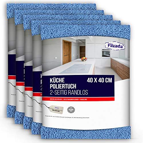 Filzada ® 5X Hochglanz Tuch Küche - Streifenfreier Glanz Ohne Fussel - Für Hochglanzflächen und Edelstahl
