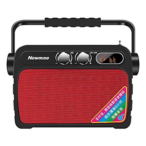 K92 Bluetooth Speaker Smart Square Dance Audio Audio Aparto Móvil Pequeño Micrófono Inalámbrico Portátil Guía de turismo Amplificador Enchufe, Rojo mei (Color : Red)