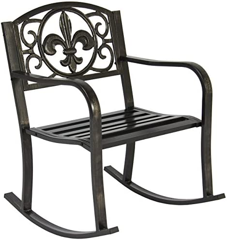 Best Best Choice Products Metal Outdoor Rocking Chair Seat for Patio, Porch, Deck w/Scroll Design, Blacke
