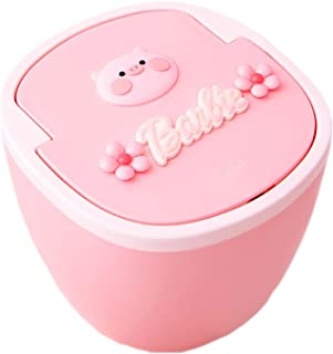 Commercial Waste Basket Desktop Garbage Can with Push Button Lid,Cute Desktops Trash Can for Office Kids Bedroom Use,Pink ...