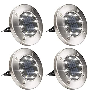 Solar Powered Disk Lights, 8LED Solar Pathway Lights Outdoor Waterproof Garden Landscape Lighting for Yard Deck Lawn Patio Walkway-White (4 Pack)