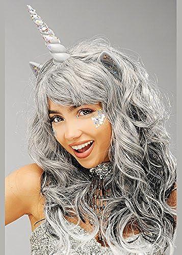 punto de venta en línea Magic Box Peluca de Unicornio gris para mujer con Purpurina Purpurina Purpurina  a la venta