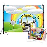 CSFOTO 5x3ft Back to School Backdrop Cartoon School Bus Rainbow Online Teaching Background for Photography Online Course Decor Banner Spring Homecoming Student Children Photo Studio Props