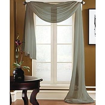 GorgeousHomeLinenDifferent Colors 1 Sheer Rod Pocket Window Curtain Panel or 1 Elegant Swag Scarf Valance  Scarf 216  Length Dark Grey