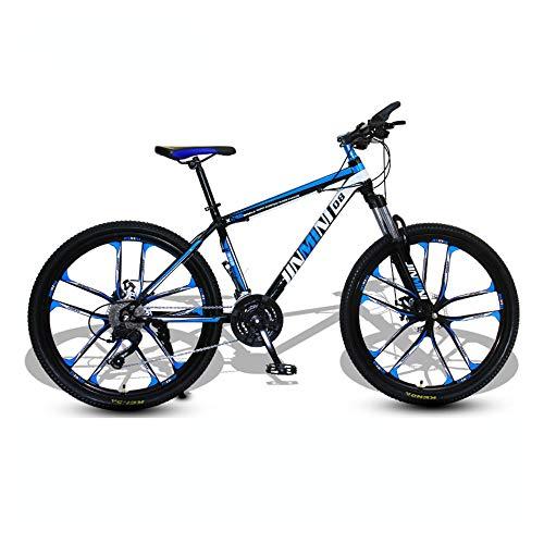 Bicicleta, bicicleta de montaña de choque, bicicleta de 24/26 pulgadas y 27 velocidades, para adultos y adolescentes, se adapta a varios terrenos, marco de acero con alto contenido de carbono /