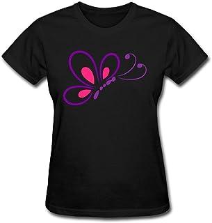 JustLikeSun Women's Butterfly Line Art T Shirt