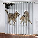 fgjorics Cortinas Opacas 3D Snow Wolf Home Cortinas Impresas Decorativas Cortinas Opacas Cortinas con Aislamiento Térmico para De Niños 230 (H) X140 (W) Cmx2