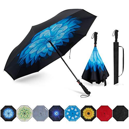AOACreations Doppelschichtiger umgekehrter Regenschirm, umgekehrt, faltbar, Winddicht, UV-Schutz für Auto, Regen, Outdoor-Reisen, Blaue Blume