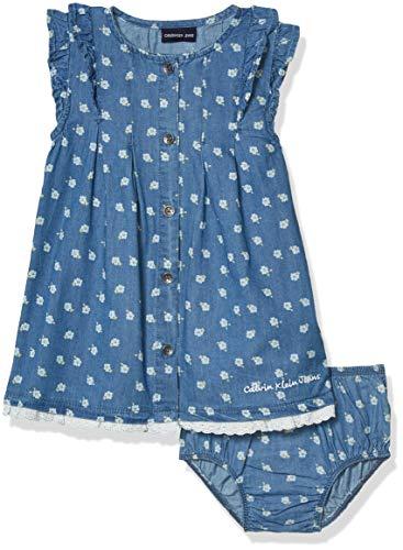 Calvin Klein Baby Girls' 2 Pieces Dress Set, Blue Denim, 12M 2 Piece Blue Dress