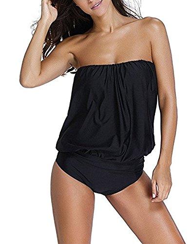 Hippolo costume da bagno da donna a pezzo unico senza spalline fasciante Black L