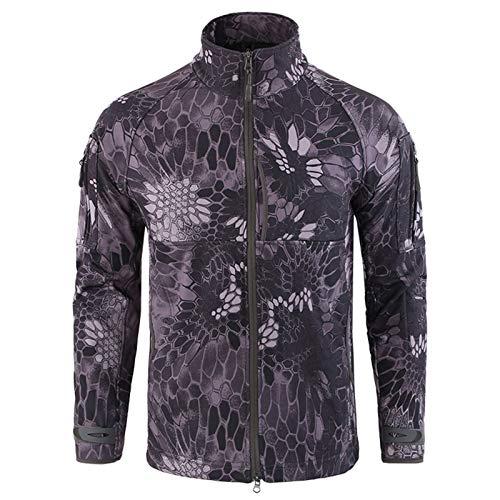 THWJSH Chaqueta militar para hombre, chaqueta con cremallera, forro polar al aire libre, deportes, camuflaje, ropa cálida para airsoft, impermeable para pesca/caza, 2 l