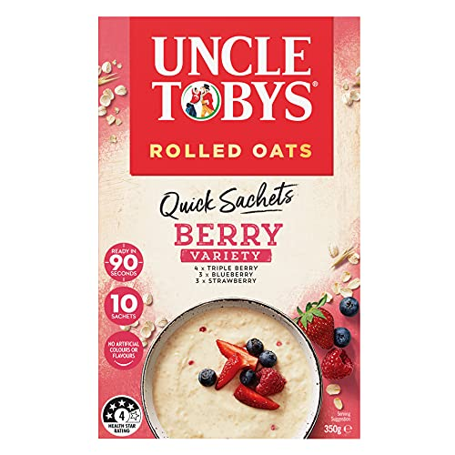UNCLE TOBYS Oats Quick Sachets Berry Variety Pack, 10 Sachets