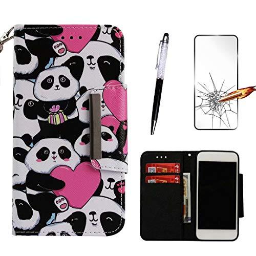 LG Stylo 4 Hülle/LG Q Stylus Hülle, KSHOP Kompatibel mit Handyhülle Premium PU Leder Flip Tasche Wallet Hülle mit Integrierten Kartensteckplätzen [Gifts: Screen Protector, Touch Pen] - Herz-Panda