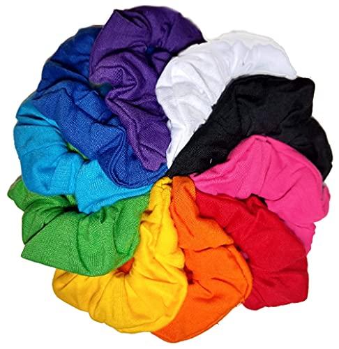 Cotton Scrunchie Set, Set of 10 Soft Cotton Scrunchies (Bright Color Assortment)