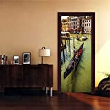 XXCCTT Etiqueta De La Puerta Mural 3D Venecia Río Barco Arquitectura (90 * 210Cm) Autoadhesivo DIY...
