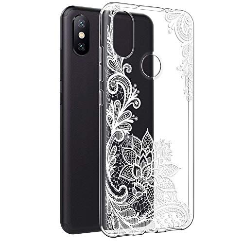 Funda Xiaomi Redmi Note 6 Pro, ZhuoFan Cárcasa Silicona 3D Transparente con Dibujos Diseño Gel TPU [Antigolpes] de Protector Fundas para Movil Xiaomi Redmi Note 6Pro - 6,26 Pulgadas (Flor Blanca)