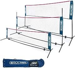 Boulder Portable Badminton Net Set - for Tennis, Soccer Tennis, Pickleball, Kids Volleyball - Easy Setup Nylon Sports Net with Poles (Blue/Red, 14 FT)