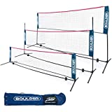 Boulder Portable Badminton Net Set - for Tennis, Soccer Tennis, Pickleball, Kids Volleyball - Easy Setup Nylon Sports Net with Poles (Blue/Red, 14 FT)