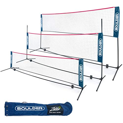Boulder Portable Badminton Net Set - for Tennis, Soccer Tennis, Pickleball, Kids Volleyball - Easy Setup Nylon Sports Net with Poles (Blue/Red, 10 FT)
