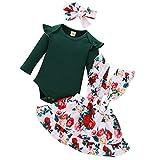 Qiraoxy Bebé Niña Otoño Ropa de Algodón de Una Pieza Falda de Liga Floral Falda de Lazo Vestido de Diadema