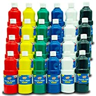 24pk Poster Paint Set | 400 Millilitre Washable Paints in Red, Yellow, Green, Blue, White and Black | Acid Free, Non-Toxic Home and School Painting Supplies