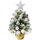 Tabletop Christmas Tree, MAOYUE Artificial Snow Christmas Tree, 20in Mini Christmas Tree with Battery Operated 8 Mode Lighted for Christmas Decorations, Home Decor, Office, Dining Table