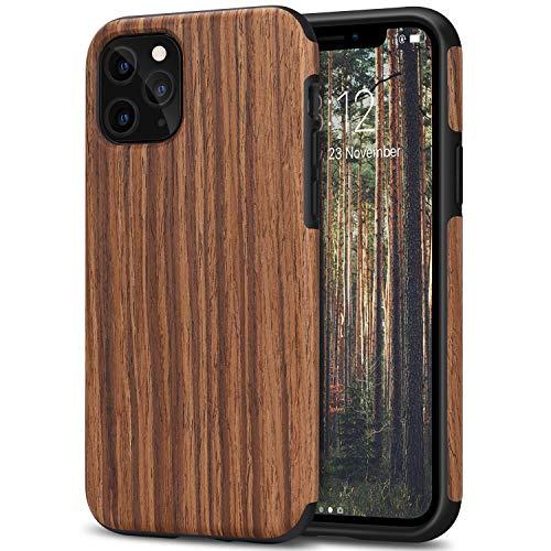 TENDLIN Kompatibel mit iPhone 11 Pro Hülle Holz Schutzhülle und TPU Hybrid Handyhülle (Rotes Sandelholz)