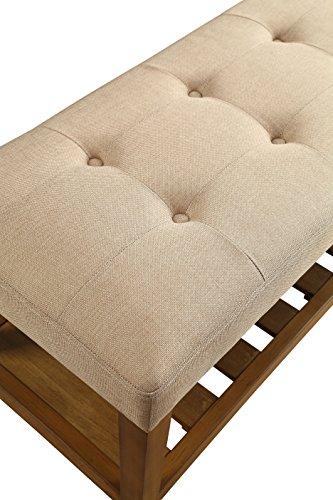 ComfortScape Hallway Bench in Padded Cushion with Open Storage, Beige & Oak