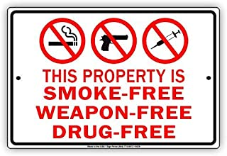 This Property is Smoke-Free Weapon-Free Drug-FreeNo Smoking Allowed Metal Aluminum Sign Home Decor UV Protective Coated Sign Board Display 8x12 inch