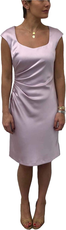 Donna Ricco Women's Scoop Neck Side Pleat Sheath Dress